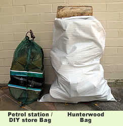 Picture showing a comparison between a Hunterelm bag of logs on the right and a standard petrol station/DIY store net bag on the left.